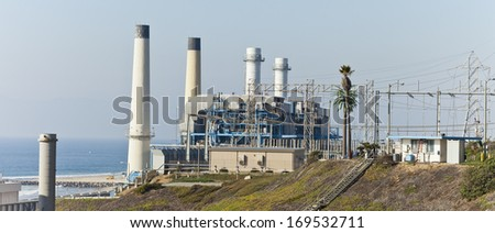 Panoramic view of the oil refinery plant - stock photo