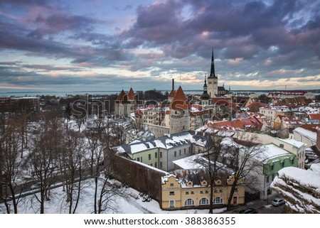 Panoramic view of the Old Town in Tallinn, Estonia.