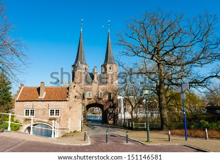 Panoramic view of the Oostpoort (Eastern Gate), Delft, The Netherlands