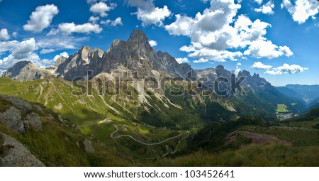 panoramic view of the Pale di San Martino, Dolomite - stock photo