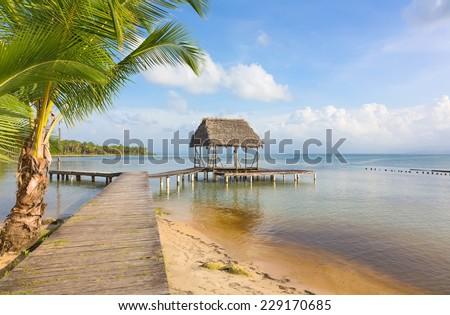 Panoramic view of the pier on Boca del Drago beach, archipelago Bocas del Toro, Panama - stock photo