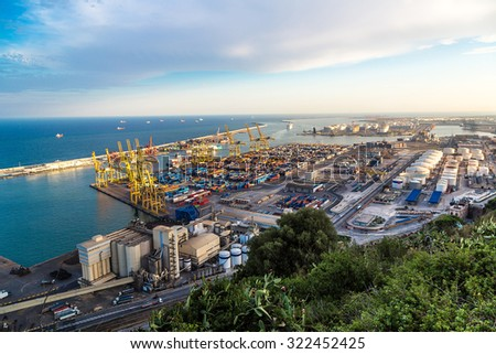 Panoramic view of the port in Barcelona. It is one of the busiest container port in Europe in Barcelona, Spain in a summer day - stock photo