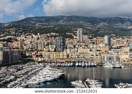 Panoramic view of the port in Monte Carlo, Monaco. Principality of Monaco is a sovereign city state, located on the French Riviera - stock photo