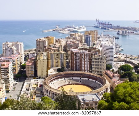 Panoramic view of the port of Malaga