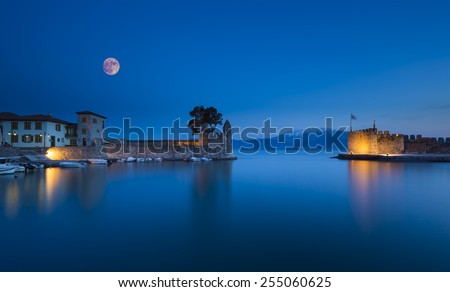 Panoramic view of the port of Nafpaktos in Greece  - stock photo