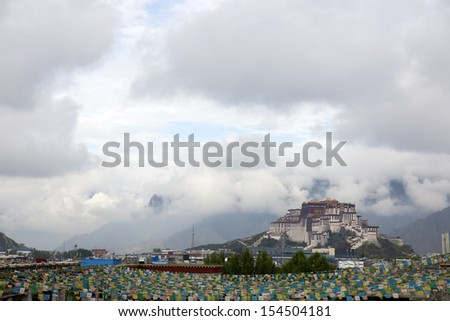 Panoramic view of the Potala Palace in Tibet - stock photo