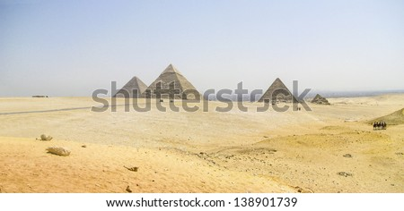 panoramic view of the Pyramids of Giza
