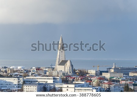 Panoramic view of the Reykjavik city from Perlan in winter. The Hallgrimskirkja church, Iceland. - stock photo