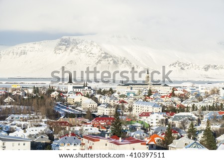 Panoramic view of the Reykjavik city from the top of Hallgrimskirkja churchin winter, Iceland. - stock photo