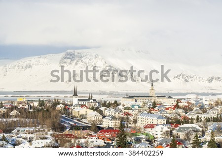 Panoramic view of the Reykjavik city in winter, Iceland. - stock photo