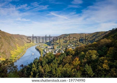 Panoramic view of the river Moselle (Mosel) near Cochem / Sehl - stock photo