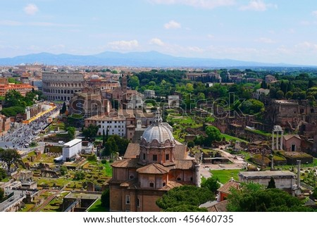 Panoramic view of the Roman Forum and the Colosseum in Rome, Italy - stock photo