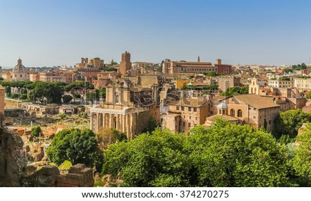 Panoramic view of the Roman Forum. View from the hill Palatine
