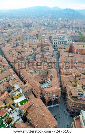 Panoramic view of the roofs of Bologna. - stock photo