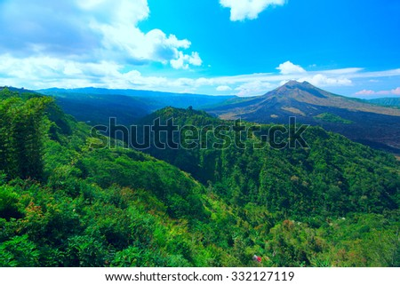 Panoramic view of the sacred mountain on Bali - stock photo