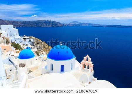 Panoramic view of the Santorini caldera, taken from Oia, Greece - stock photo
