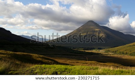 Panoramic view of the Scottish highlands at sunset - stock photo