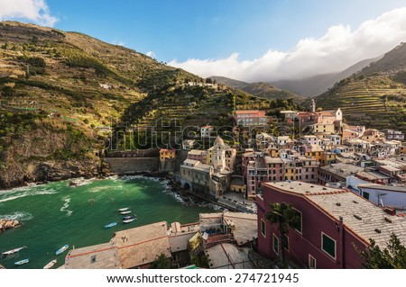 Panoramic view of the seaside town of Vernazza, Cinque Terre, Italy - stock photo