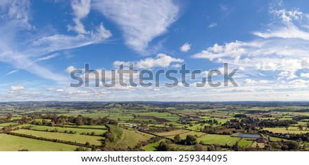 Panoramic view of the  Somerset Levels from the top of Glastonbury Tor