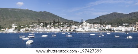 panoramic view of the Spanish town of Cadaques,the famous small village of Costa Brava, Catalonia - Spain - stock photo
