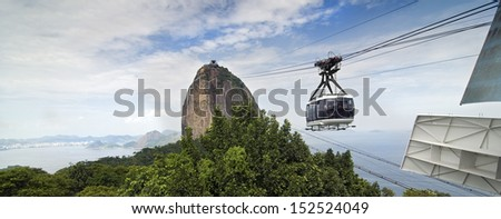 Panoramic View of the Sugar Loaf Mountain Air Tram at Rio de Janeiro, Brazil