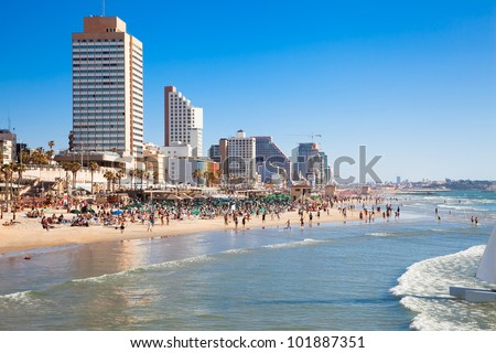 Panoramic view of the  Tel-Aviv public beach on Mediterranean sea. Israel - stock photo