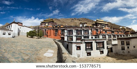 Panoramic view of the traditional Tibetan temple: The Palkhor Monastery in Tibet Province in China. In 2013 the temple has been transformed as a museum.