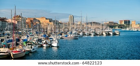 Panoramic view of the Vieux Port - old port of Marseilles, France - stock photo