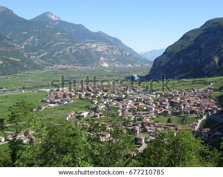 Panoramic view of the village of Besenello, Trento - Italy