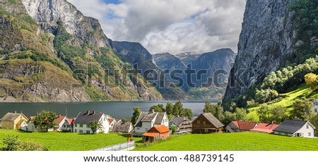 Panoramic view of the Village of Undredal in Norway