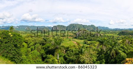 Panoramic view of the Vinales valley in Cuba (30 Megapixels) - stock photo