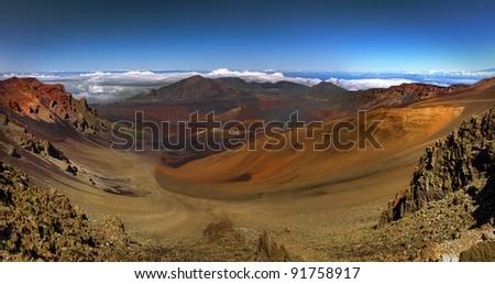 Panoramic view of the volcanic Haleakala crater on Maui, Hawaii - stock photo