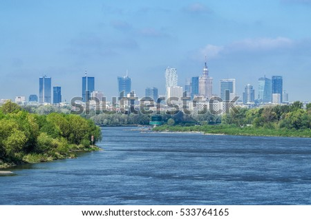Panoramic view of the Warsaw City