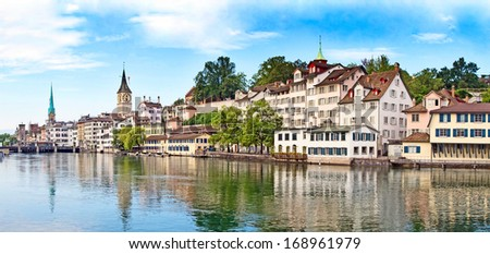 Panoramic view of the Zurich donwtown (Switzerland, 2009) - stock photo
