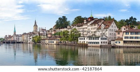 Panoramic view of the Zurich donwtown (Switzerland, 2009)