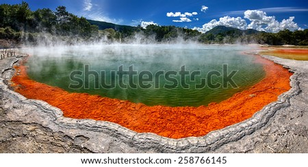 Panoramic view of thermal lake Champagne Pool at Wai-O-Tapu near Rotorua, New Zealand - stock photo
