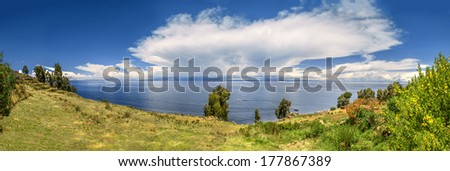 Panoramic view of Titicaca Lake in Peru and Bolivia - stock photo