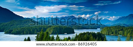 Panoramic view of Tofino.  The sleepy village of Tofino on the West coast of Vancouver Island is now becoming a hot spot for tourism and second homes. - stock photo