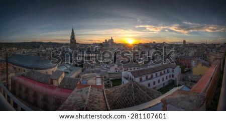 Panoramic view of Toledo in Castilla-La Mancha, Spain on a Spring day at sunset. - stock photo