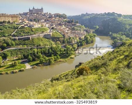 panoramic view of Toledo, Spain - stock photo