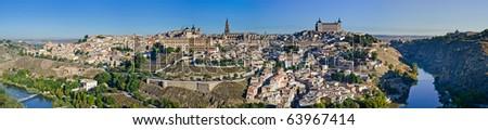 Panoramic view of Toledo. Spain - stock photo