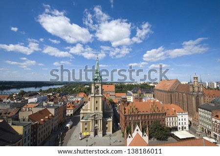 Panoramic view of Torun taken from the tower of the town hall, Poland