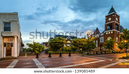 Panoramic view of town square in Dallas, Georgia, after sunset - stock photo