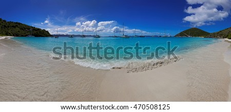 Panoramic view of tropical beach in British Virgin Island (BVI), Caribbean
