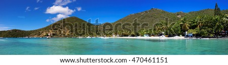 Panoramic view of tropical shoreline in British Virgin Island (BVI), Caribbean, view from sea to land