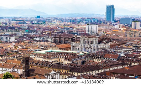 Panoramic view of Turin, a city in Piedmont, Italy