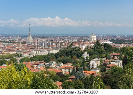 panoramic view of Turin cityscape - stock photo