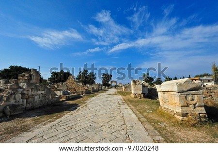 Panoramic view of Tyre's ancient Phoenician and Roman ruins, declared a UNESCO World Heritage Site in 1979. Tyre is Lebanon's fourth largest city. - stock photo