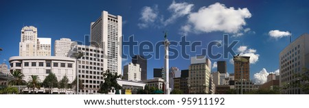 Panoramic view of Union Square with its historic Dewey Monument at San Francisco downtown - stock photo