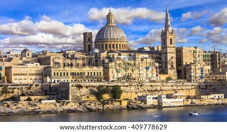 panoramic view of Valletta . Malta - stock photo